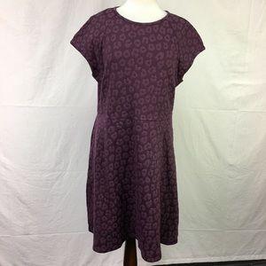 LOFT Purple Textured Fit & Flare Midi Dress